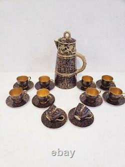 10 Royal Worcester Demitasse Cups & Saucers set with coffee pot Antique England