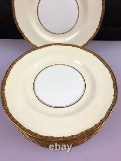12 x Royal Worcester Gold Embossed Border Cream Dessert Salad Plates 9 Wide Set