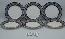 1879 Royal Worcester Chinoiserie Cobalt Rust Set Of 6 Plates