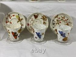 1879 Royal Worcester butterfly&insect tea set teapot creamer sugar Teacup