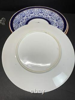 18TH C. Worcester Royal Lily Cobalt Blue Lily Pattern Luncheon Plate Set Of 4