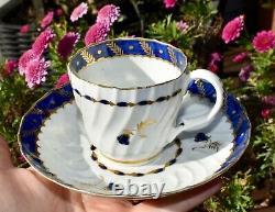 18th Century DR WALL Worcester 4 Piece Tea Set Trio & Plate Cobalt/Gilt