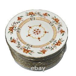 1967 Royal Worcester Chamberlain Orange Prince Regent Set 12 Salad Plates w Gold