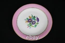 19th Century Royal Worcester Dessert Plates Pink Autumn Winter Painted Scene Set