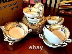 24 pc SET Soup/Cream Bowls Saucer Antique Royal Worcester Cordova Yellow Border
