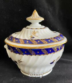 3 Pc Set CHAMBERLAIN WORCESTER Lidded Sugar Bowl, Creamer, and 1 Cup Circa 1800