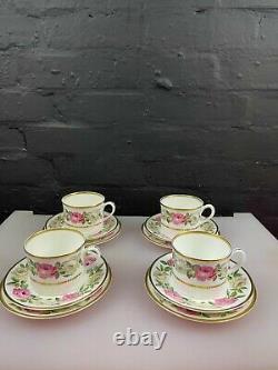 4 x Royal Worcester Royal Garden Dot Dash Tea Trios Cups Saucers Side Plates Set