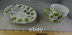5 Royal Worcester Blind Earl Raised Design Multicolor Flat Cup Saucer Sets Mint