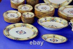 56 piece SET Antique Royal Worcester Cordova Yellow Border Service for 8 NICE