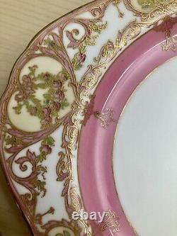 6 Antique Royal Worcester HANDPAINTED Ornate GILT PLATE Set Pink WithRose Design