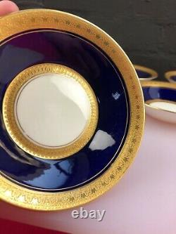 6 x Rare Royal Worcester Coronet Cobalt Blue Fruit Bowls 14 cm Wide Set