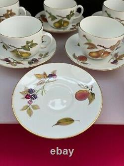 6 x Royal Worcester Evesham Gold Extra Large Breakfast Cups and Saucer Set RARE