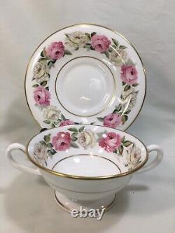 (8) Royal Worcester Royal Garden Large CREAM SOUP SETS Pink/White Roses MINT