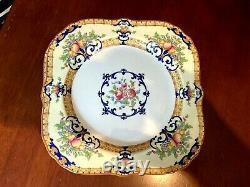 8 pc SET 8.25 Square plates Antique Royal Worcester Cordova Yellow Border RARE