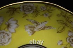 8pc Royal Worcester AVESBURY Variation Yellow & Tan BIRDS Cream Soup Bowls Set