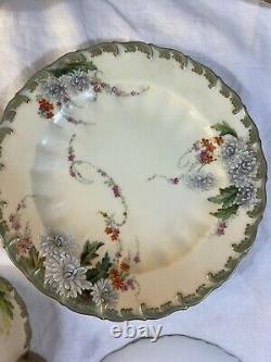 Antiq Worcester 6set Tea Cup & Saucer/Dessert Plate Floral Hand Painted Mum 1880