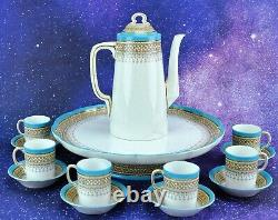 Antique 1880 ROYAL WORCESTER 15 pieces Demitasse Coffee set. (BI#MK/200509)