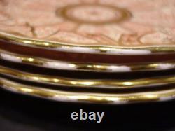 Antique 1887 Royal Worcester Plates Elaborate Red Gilt Gold Pattern Set of 12