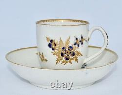 Antique 18th Century DR WALL Worcester Tea Cup & Saucer Set Flowers w Gilt
