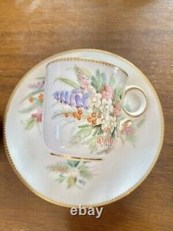 Antique Mint Royal Worcester HP Tea Cup Saucer Duo Set 1