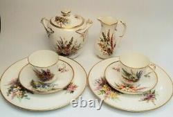 Antique ROYAL WORCESTER for TIFFANY & CO Porcelain Tea Luncheon Set Floral Gold