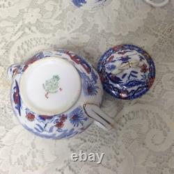 Antique, Rare, England, Royal Worcester 4-pc Variant, Gaudy Blue Willow Tea Set