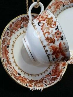 Antique Royal Worcester Bone China Orange Gold Floral Dessert Set of 14pc