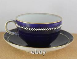 Antique Royal Worcester Cobalt Blue White Jeweled Cabinet Cup Saucer Set 51