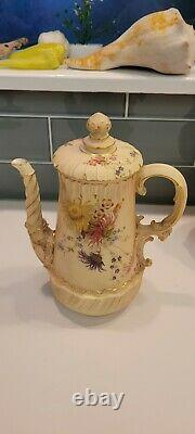 Antique Royal Worcester England 5 Piece Blush Ivory Set Absolutely STUNNING