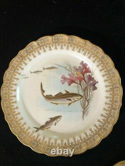 Antique Royal Worcester England Hand Painted Set Of 8 Fish Plates