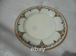 Antique Royal Worcester Set Of 12 Luncheon Plates, Each 9 Wide, Raised Enamel
