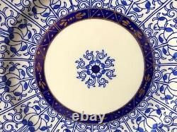 Antique (ca. 1878) Set Of 11 Royal Worcester England Lily 9 Luncheon Plates Blue