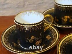Antique1867 Set 4 ROYAL WORCESTER Black With Gold Flowers Demitasse Cup Saucer