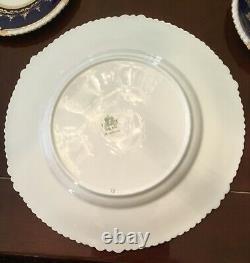 Aynsley Royal Worcester cobalt gold gilt dinner plate rose teacup set for 8 58pc