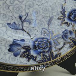 C1881 ROYAL WORCESTER Collamore Blue Vitreous Ironstone 11 Dinner Plate Set