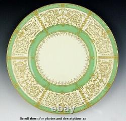Fantastic Set 11 Cream Green and Gilded 1929 Royal Worcester Dinner Plates