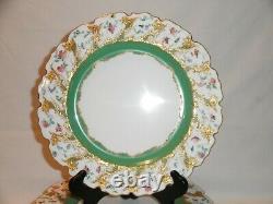 Fine Antique Royal Worcester Floral Gilt Set Of 10 Dinner Plates