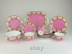 Fine Antique Royal Worcester Pink 19 Piece Part Tea Set. Pattern 4551. C1925