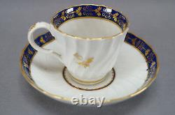 Flight Worcester Cobalt Blue & Gold Thistle 4 Piece Set Cups & Plate 1792 1807