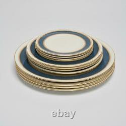 Four (4) Royal Worcester Belvoir Blue Place Settings, Bread/salad/dinner Plates
