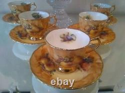 Fruit china tea cups and saucers set of five bone china