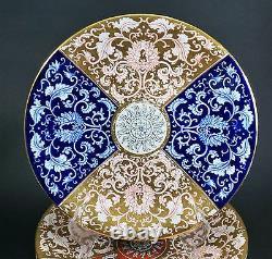 Gorgeous & Rare Set of Six Royal Worcester Polychrome Yellow Blue Orange Plates