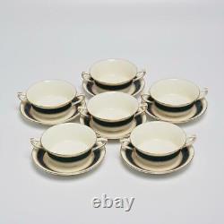 Group Of (6) Royal Worcester Belvoir Blue, Cream Soup Bowl & Saucer Set England