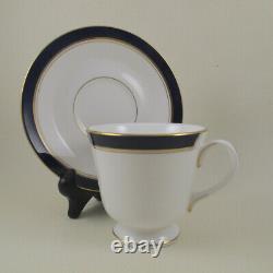 HOWARD ROYAL WORCESTER England Cobalt Blue Gold Trim 12 Cup & Saucer Sets 24pc