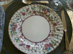 Kashmir Pattern Royal Worcester Fine China Service For 8 Minty Family Estate Set