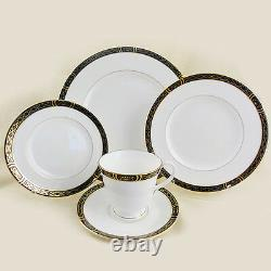 MOUNTBATTEN BLACK Royal Worcester 5 Piece Set NEW NEVER USED Bone China England
