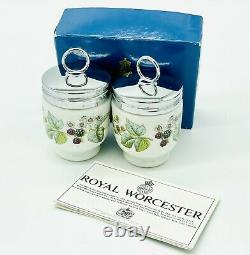 NIB Vintage Pair of Royal Worcester English Porcelain Egg Coddler Set Lavinia