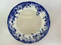 RARE FLOW BLUE 10.5 Dinner Plates Vintage Set of 4 Vermont by Burgess & Leigh