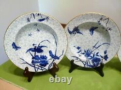 ROYAL WORCESTER H998 Hand-Painted ASIAN Blue Flowers & Crane SET 4 SOUP BOWLS