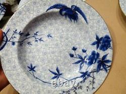 ROYAL WORCESTER H998 Hand-Painted ASIAN Blue Flowers & Crane SET 6 SOUP BOWLS